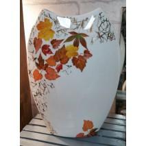 Vase ovale plat décors feuiles d'automne e et or