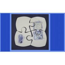 """puzzle dessous de plat décors """"volcan bleu"""""""