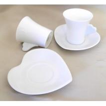Tasse et sous tasse forme coeur