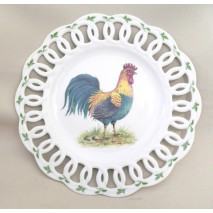 """assiette de décoration ajourée décor """"coq vert"""""""