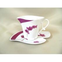 Tasse et sous tasse forme feuille