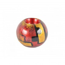 Bougeoir boule rouge et or