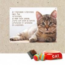 Plaque en métal chat