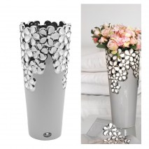 Vase Taupe, blanc et argent