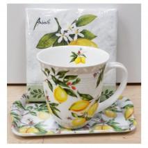 Ensemble mug, plateau et serviettes citrons