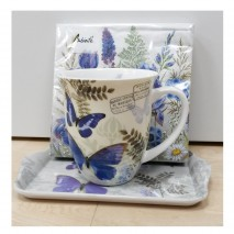 Ensemble mug, plateau et serviettes papillons bleus