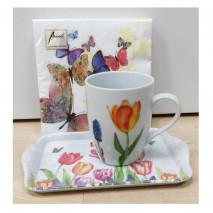 Ensemble mug, plateau et serviettes tulipes et papillons