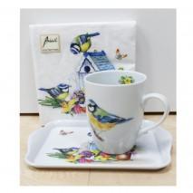 Ensemble mug, plateau et serviettes mésanges
