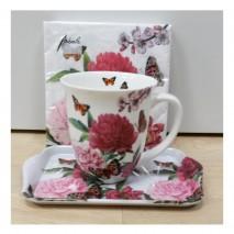Ensemble mug, plateau et serviettes Fleurs