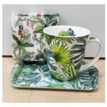 Ensemble mug, plateau et serviettes exotique
