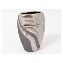 Vase ovale gris et argent