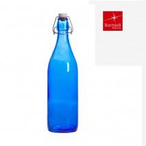 Bouteille limonade bleu avec bouchon mécanique