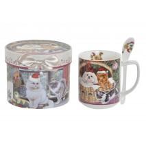 Mug chien et chat de Noël en coffret