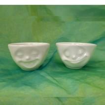 "Bols en porcelaine blanche ""Visage"" 100ml"