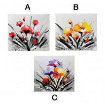 Tableau Fleurs multicolores 30X30cm
