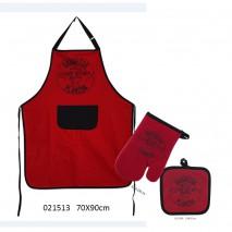 Ensemble tablier Barbecue rouge piment (3pièces)