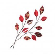 branche de feuilles rouges métal
