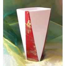 Vase cylindrique décors marbre rouge et or