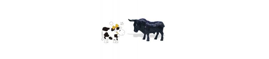 cheval, vache et taureau